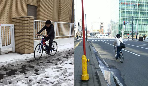 雪解け後は自転車に乗る道民が増加