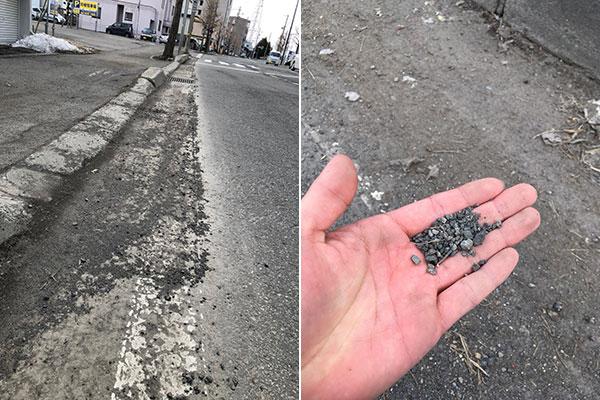 砂利が散乱している春の道